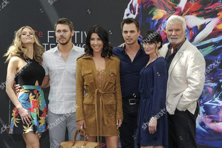 (l-r) Canadian Actress Kelly Kruger Us Actor Scott Clifton Canadian Actress Jacqueline Macinnes Wood Us Actors Darin Brooks Rena Sofer and John Mccook of Tv Series 'The Bold and the Beautifuls' Pose During a Photocall at the 56th Monte Carlo Television Festival in Monaco 13 June 2016 the Festival Runs From 12 to 16 June Monaco Monaco