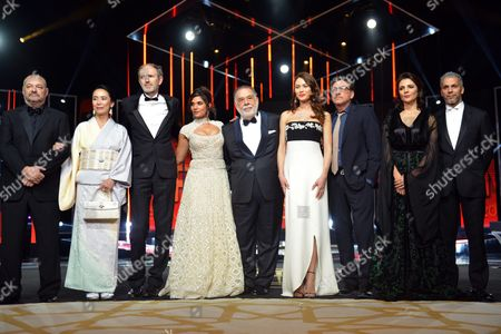 Jury Members (l-r) French Diretor Jean-pierre Jeunet Japanese Director Naomi Kawase Dutch Director and Photographer Anton Corbijn Indian Actress Richa Chadda Us Director Francis Ford Coppola French Actress Olga Kurylenko Italian Actor Sergio Castellitto Moroccan Actress Amal Ayouch and French Actor Sami Bouajila Pose During the Opening Ceremony During the 15th Annual Marrakech International Film Festival in Marrakech Morocco 04 December 2015 the Festival Runs From 04 to 12 December Morocco Marrakech