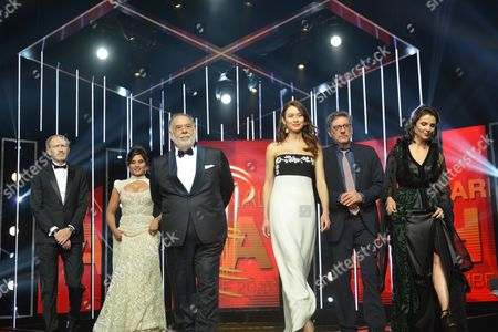 Jury Members (l-r) French Diretor Jean-pierre Jeunet Indian Actress Richa Chadda Us Director Francis Ford Coppola French Actress Olga Kurylenko Italian Actor Sergio Castellitto and Moroccan Actress Amal Ayouch Pose During the Opening Ceremony During the 15th Annual Marrakech International Film Festival in Marrakech Morocco 4 December 2015 the Festival Runs From 04 to 12 December Morocco Marrakech