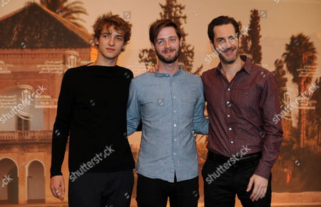 Canadian Director Stephen Dunn (c) Actors Aaron Abrams (r) and Aliocha Shneider (l) Pose During the Photocall For the Movie 'Closet Monster' at the 15th Annual Marrakech International Film Festival in Marrakech Morocco 07 December 2015 the Festival Runs From 04 to 12 December Morocco Marrakech