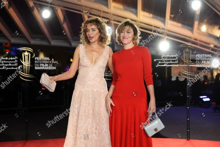Stock Picture of Italian Actress Valeria Golino (l) and French Actress Val?rie Bonneton Pose For Pictures During the Red Carpet For the Movie 'Black' at the 15th Annual Marrakech International Film Festival in Marrakech Morocco 10 December 2015 the Festival Runs From 04 to 12 December Morocco Marrakech