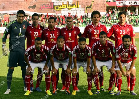 Al Ahly Sc Players (front Row L-r) Ahmed Kenawi Walid Soliman Hossam Ashour Rabia Ramy and Abdallah Said; (back Row L-r) Goalkeeper Sherif Ekramy Mohamed Aboutrika Ahmed Fathi Captain Emad Meteab Saadeldin Saad and Mohamed Naguib Pose For Photographers Before the Fifa Club World Cup 2013 Quarter Final Soccer Match Between Guangzhou Evergrande Fc and Al Ahly Sc in Agadir Morocco 14 December 2013 Morocco Agadir