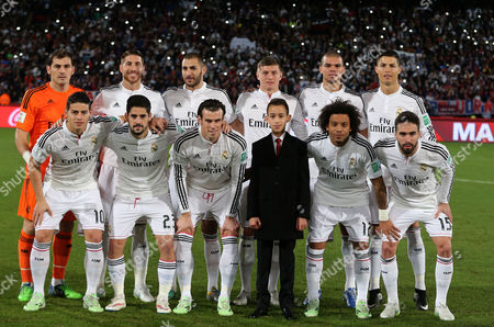 Prince Moulay El Hassan of Morocco (front Row 3-r) Poses For Photographs with the Players of Real Madrid Prior to the Final Match of the Fifa Club World Cup 2014 Between San Lorenzo of Argentina and Real Madrid of Spain in Marrakech Morocco 20 December 2014 Morocco Marrakech