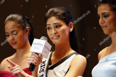 Miss Universe 2015 Pia Alonzo Wurtzbach (c) Gives a Speech During the Official Presentation of the Miss Philippines 2016 Candidates at a Hotel in Quezon City Northeast of Manila Philippines 29 March 2016 Forty Women Are Competing For Winning Spots in the Pageant to Represent the Country in This Year's Miss Universe Miss World and Miss International Contests Pia Alonzo Wurtzbach Winner of the Miss Universe 2015 Graced the Event Philippines Manila