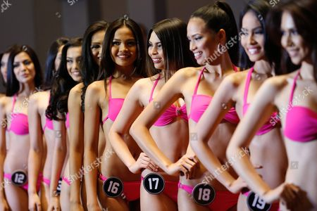 Filipinos in Swimsuits Pose During the Official Presentation of Miss Philippines 2016 Candidates at a Hotel in Quezon City Northeast of Manila Philippines 29 March 2016 Forty Women Are Competing For Winning Spots in the Pageant to Represent the Country in This Year's Miss Universe Miss World and Miss International Contests Pia Alonzo Wurtzbach Winner of the Miss Universe 2015 Graced the Event Philippines Manila