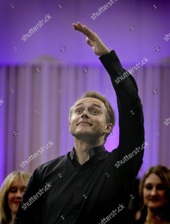 Russian Conductor Vasily Petrenko Greets the Audience After Conducting the Royal Liverpool Philharmonic Orchestra on the Stage of Palace Hall in Bucharest Romania 17 September 2015 During the Enescu Festival 2015 the George Enescu Festival Held Since 1958 Every Two Years is the Biggest Classical Music Festival Held in Romania in Honor of Famous Romanian Composer and Violinist George Enescu Romania Bucharest