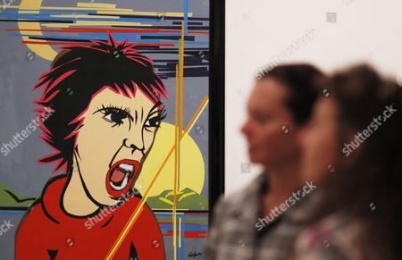 Visitors Look at the Collage 'Day and Night' by Painter and Writer Pal Sarkozy in Moscow Russia 20 August 2015 Pal Sarkozy is the Father of Former French President Nicolas Sarkozy Russian Federation Moscow