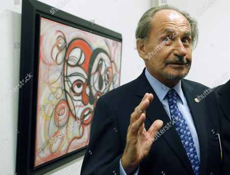 Father of the Former French President Nicholas Sarkozy Pal Sarkozy Speaks During the Opening of His Exhibition in the Russia's Fine Art Exhibition Hall in Moscow Russia 01 September 2015 Hungarian Born Pal Sarkozy 88 Arrived in France in 1948 and Made a Career As a Successful Designer and Started As an Artist Only in 2001 Russian Federation Moscow