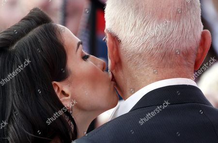 President of Moscow International Film Festival Nikita Mikhalkov (r) Gets a Kiss From Uruguayan Actress and Singer Natalia Oreiro on the Red Carpet of the Closing Award Ceremony the 38th Moscow International Film Festival at the Rossiya Theatre in Moscow Russia 30 June 2016 Russian Federation Moscow