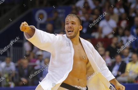 Karl-richard Frey of Germany Celebrates His Victory Over Tagir Khaibulaev of Russia at the Men's -100kg Category Bronze Medal Bout During the Judo World Championships at the Traktor Arena in Chelyabinsk Russia 30 August 2014 Russian Federation Chelyabinsk