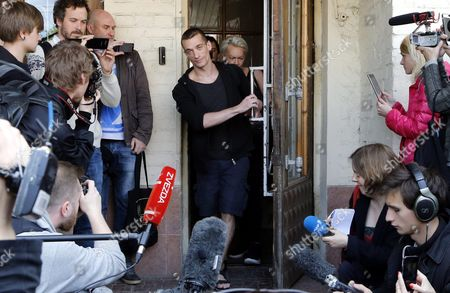 Russia's Political Performance Artist Pyotr Pavlensky (c) Leaves the Meshchansky District Court in Moscow Russia 08 June 2016 After His Verdict Hearing the Court Found Pavlensky Guilty on the Case of Damage of Cultural Heritage Object and Sentenced Him to a Penalty in the Amount of 500 000 Rubles ( Over 6 700 Euro) in November 2015 Pavlensky was Detained in Moscow After He Had Set Fire at the Door of Federal Security Service (fsb) Headquarters During His Action Under the Name of 'Threat' Russian Federation Moscow