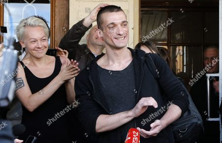 Russia's Political Performance Artist Pyotr Pavlensky (front R) Leaves the Meshchansky District Court in Moscow Russia 08 June 2016 After His Verdict Hearing the Court Found Pavlensky Guilty on the Case of Damage of Cultural Heritage Object and Sentenced Him to a Penalty in the Amount of 500 000 Rubles ( Over 6 700 Euro) in November 2015 Pavlensky was Detained in Moscow After He Had Set Fire at the Door of Federal Security Service (fsb) Headquarters During His Action Under the Name of 'Threat' Russian Federation Moscow