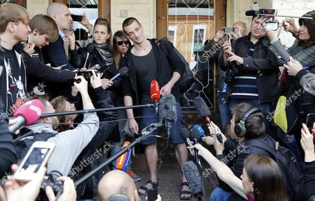 Stock Picture of Russia's Political Performance Artist Pyotr Pavlensky (c) Speaks to Media at the Meshchansky District Court in Moscow Russia 08 June 2016 After His Verdict Hearing the Court Found Pavlensky Guilty on the Case of Damage of Cultural Heritage Object and Sentenced Him to a Penalty in the Amount of 500 000 Rubles ( Over 6 700 Euro) in November 2015 Pavlensky was Detained in Moscow After He Had Set Fire at the Door of Federal Security Service (fsb) Headquarters During His Action Under the Name of 'Threat' Russian Federation Moscow