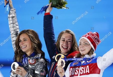 Gold Medalist Elizabeth Yarnold (c) of Great Britain is Flanked by Silver Medalist Noelle Pikus-pace (l) of Usa and Bronze Winner Elena Nikitina of Russia During the Medal Ceremony For Women's Skeleton Event at the Sochi 2014 Olympic Games Sochi Russia 15 February 2014 Russian Federation Krasnaya Polyana