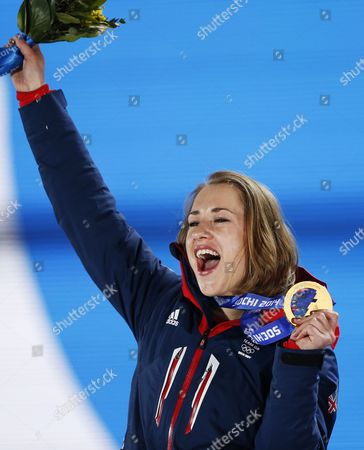 Gold Medalist Elizabeth Yarnold of Great Britain During the Medal Ceremony For Women's Skeleton Event at the Sochi 2014 Olympic Games Sochi Russia 15 February 2014 Russian Federation Krasnaya Polyana