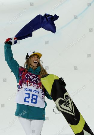 Silver Medalist Torah Bright of Australia Celebrates During the Flower Ceremony For the Women's Snowboard Halfpipe Competition at Rosa Khutor Extreme Park During the Sochi 2014 Olympic Games Krasnaya Polyana Russia 12 February 2014 Russian Federation Krasnaya Polyana