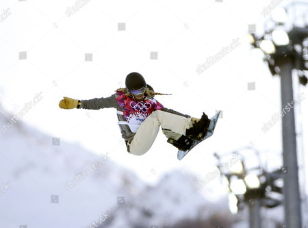 Stock Photo of Hannah Teter of Usa in Action During the Women's Snowboard Halfpipe Qualification at Rosa Khutor Extreme Park at the Sochi 2014 Olympic Games Krasnaya Polyana Russia 12 February 2014 Russian Federation Krasnaya Polyana