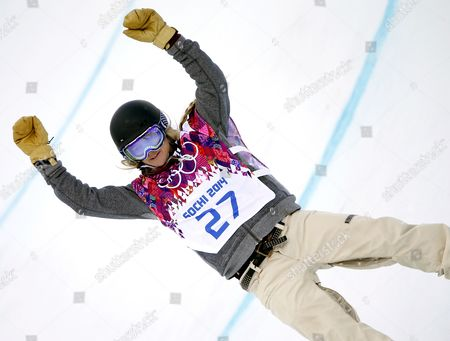 Stock Picture of Hannah Teter of Usa in Action During the Women's Snowboard Halfpipe Qualification at Rosa Khutor Extreme Park at the Sochi 2014 Olympic Games Krasnaya Polyana Russia 12 February 2014 Russian Federation Krasnaya Polyana