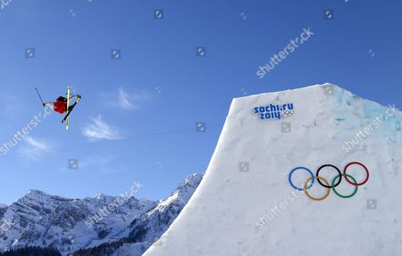 Gold Medalist Joss Christensen of the Usa in Action During the Men's Freestyle Skiing Slopestyle Final in the Rosa Khutor Extreme Park at the Sochi 2014 Olympic Games Krasnaya Polyana Russia 13 February 2014 Russian Federation Krasnaya Polyana