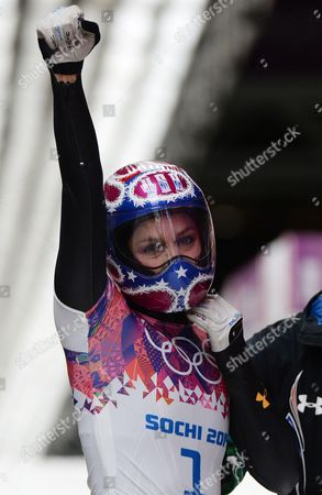 Noelle Pikus-pace of the Usa Clenches Fist After Heat 3 of the Women's Skeleton Competition at the Sanki Sliding Center at the Sochi 2014 Olympic Games Krasnaya Polyana Russia 14 February 2014 Russian Federation Krasnaya Polyana
