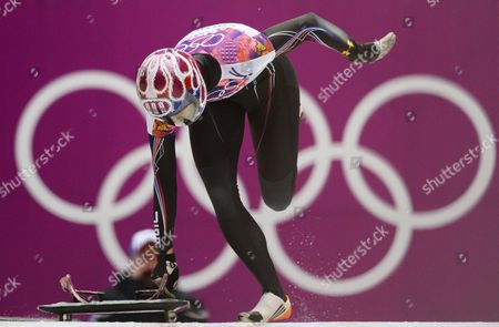 Stock Image of Shelley Rudman of Great Britain at the Start of Heat 1 in the Women's Skeleton Competition at the Sanki Sliding Center at the Sochi 2014 Olympic Games Krasnaya Polyana Russia 13 February 2014 Russian Federation Krasnaya Polyana
