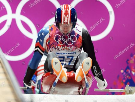 Aidan Kelly of Usa at the Start of His First Run in the Men's Singles Luge at the Sanki Sliding Center at the Sochi 2014 Olympic Games Krasnaya Polyana Russia 08 February 2014 Russian Federation Krasnaya Polyana