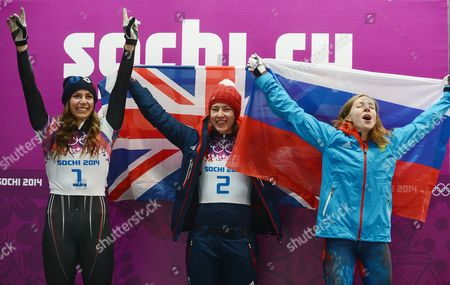 Gold Medalist Elizabeth Yarnold (c) of Britain is Flanked by Silver Medalist Noelle Pikus-pace (l) of the Usa and Bronze Winner Elena Nikita of Russia After the Women's Skeleton Competition at the Sanki Sliding Center at the Sochi 2014 Olympic Games Krasnaya Polyana Russia 14 February 2014 Russian Federation Krasnaya Polyana