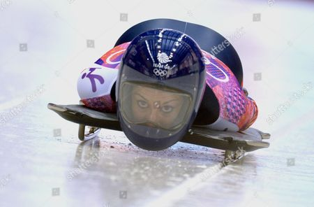 Shelley Rudman of Great Britain at the Start of Heat 1 in the Women's Skeleton Competition at the Sanki Sliding Center at the Sochi 2014 Olympic Games Krasnaya Polyana Russia 13 February 2014 Russian Federation Krasnaya Polyana