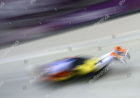Anja Huber of Germany in Action During the Race For the Women's Skeleton at the Sanki Sliding Center at the Sochi 2014 Olympic Games Krasnaya Polyana Russia 13 February 2014 Russian Federation Krasnaya Polyana