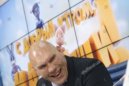 Former Boxer Nikolai Valuev Attends a News Conference Devoted to a New Format of Russia's Popular Children's Tv Puppet Show and His Participation in It As a Host in Moscow Russia 25 August 2016 Russian Federation Moscow