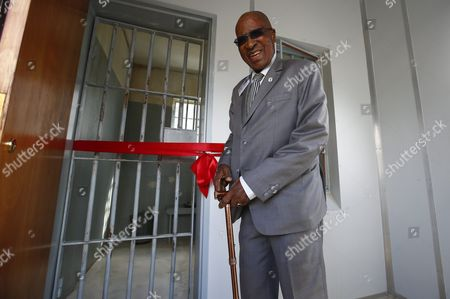 Andrew Mlangeni South African Political Activist and Former Political Prisoner Poses During the Launch of the Replica of Nelson Mandela's Robben Island Prison Cell in Cape Town South Africa 26 September 2016 Former South African President and Nobel Peace Laureate Nelson Mandela was Imprisoned in a Cell of These Exact Proportions For 27 Years This Mobile Replica Will Make Its Way Around the Country to Enable Young People who Have Never Been to the Robben Island Museum to Get a Personal Perspective of the History That Unfolded on Robben Island and South Africa South Africa Cape Town