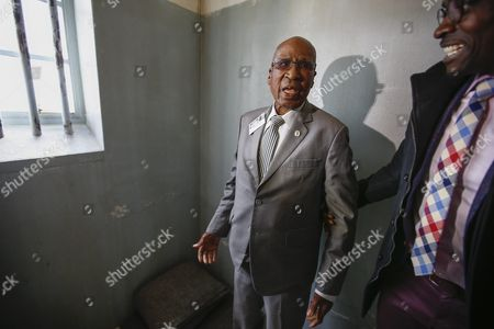Andrew Mlangeni (l) South African Political Activist and Former Political Prisoner and the South African Minister of Home Affairs Malusi Gigaba (r) During the Launch of the Replica of Nelson Mandela's Robben Island Prison Cell in Cape Town South Africa 26 September 2016 Former South African President and Nobel Peace Laureate Nelson Mandela was Imprisoned in a Cell of These Exact Proportions For 27 Years This Mobile Replica Will Make Its Way Around the Country to Enable Young People who Have Never Been to the Robben Island Museum to Get a Personal Perspective of the History That Unfolded on Robben Island and South Africa South Africa Cape Town