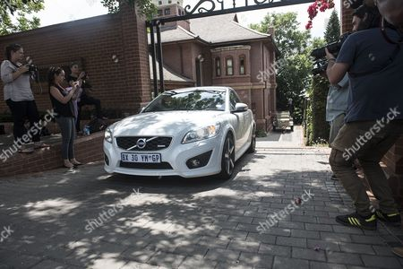 A Car Driven by Aimee Pistorius is Seen Leaving the House of Oscar Pistorius's Uncle the South African Paralympic Athlete was Released Early Over Night on Parol While Serving a Five Year Sentence For Shooting Dead His Girlfriend; Model Reeva Steenkamp; in Pretoria; South Africa; 20 October 2015 the Correctional Services Released Pistorius Secretly the Night Before His Intended Release Date to Avoid Media Attention Pistorius was Acquitted of the Premeditated Murder of His Model Girlfriend Reeva Steenkamp in February 2013 But Found Guilty of Culpable Homicide (manslaughter) Epa/shiraaz Mohamed South Africa Pretoria