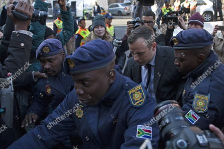 Stock Photo of South African Paralympian Oscar Pistorius (c-r) Arrives at the North Gauteng High Court in Pretoria For His Sentencing For Murder Charges Pretoria South Africa 06 July 2016 the Supreme Court of South Africa Overturned the High Court's Verdict in December 2015 with South African Paralympian Oscar Pistorius Now Facing Sentencing For Murder of His Girlfriend Reeva Steenkamp on 14 February 2013 South Africa Pretoria