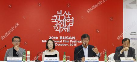 (l-r) Executive Programmer Kim Ji-seok Film Festival Directors Kang Soo-youn Lee Yong-kwan and Busan International Film Festival Steering Committee Director Jay Jeon Attend a Press Conference in Seoul South Korea 25 August 2015 the 20th Busan International Film Festival Will Run From 01 to 10 October Korea, Republic of Seoul