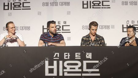 (l-r) British Actor Simon Pegg Us Actor Zachary Quinto Us Actor Chris Pine with Taiwanese-born Us Director Justin Lin Speak During a Press Conference at the Premiere of the Film 'Star Trek Beyond' at a Hotel in Seoul South Korea 16 August 2016 the Movie Will Open in South Korean Theaters on 18 August Korea, Republic of Seoul