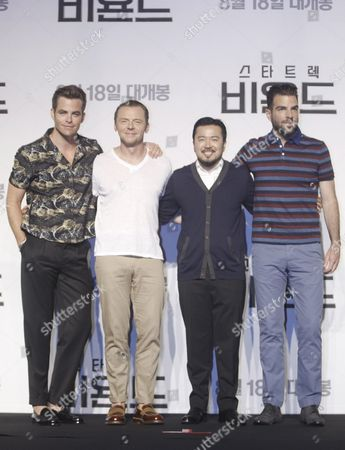 (l-r) Us Actor Chris Pine British Actor Simon Pegg Taiwanese-born Us Director Justin Lin and Us Actor Zachary Quinto Pose For a Photo During a Press Conference at the Premiere of the Film 'Star Trek Beyond' at a Hotel in Seoul South Korea 16 August 2016 the Movie Will Open in South Korean Theaters on 18 August Korea, Republic of Seoul
