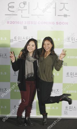 Stock Photo of South Korean-french Fashion Designer Actress and Cast Member Anais Bordier(l) and South Korean-us Actress Director and Cast Member Samantha Futerman (r) Pose During a Press Conference on 'Twinsters' in Seoul South Korea 24 February 2016 the Movie Will Open in South Korean Theaters on 03 March Korea, Republic of Seoul