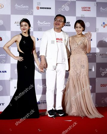 (l-r) South Korean Actress Ko A-sung Actor Kim Eui-sung and Actress Ryu Hyun-kyung Arrive at the Opening Ceremony of the 20th Busan International Film Festival (biff) in Busan South Korea 01 October 2015 the Biff Runs From 01 to 10 October 2015 with 304 Titles From 75 Countries to Be Screened Korea, Republic of Busan