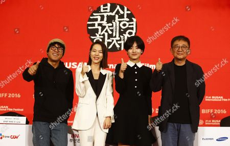 (l-r)south Korean Director and Actor Yang Ik-june South Korean Actress Han Ye-ri South Korean Actress Lee Joo-young and South Korean Director Zhang Lu Attend the Press Conference of the Opening Film 'A Quiet Dream' During the 21th Busan International Film Festival (biff) at Dongseo University Campus in Busan South Korea 06 October 2016 the Biff Runs From 06 to 15 October 2016 and Will Feature Sreenings of 301 Titles From 69 Countries Korea, Republic of Busan