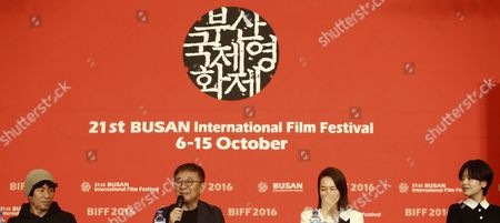 (l-r)south Korean Director and Actor Yang Ik-june South Korean Director Zhang Lu South Korean Actress Han Ye-ri and South Korean Actress Lee Joo-young Attend the Press Conference of the Opening Film 'A Quiet Dream' During the 21th Busan International Film Festival (biff) at Dongseo University Campus in Busan South Korea 06 October 2016 the Biff Runs From 06 to 15 October 2016 and Will Feature Sreenings of 301 Titles From 69 Countries Korea, Republic of Busan