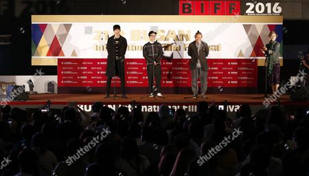 Stock Picture of (l-r) South Korean Actors Lee Won-geun Kim Young-min and South Korean Director Kim Ki-duk Attend the Outdoor Greeting For the Their Movie 'The Net' During the 21st Busan International Film Festival (biff) Plaza in Busan South Korea 09 October 2016 the Biff Runs From 06 to 15 October 2016 and Will Feature Sreenings of 301 Titles From 69 Countries Korea, Republic of Busan