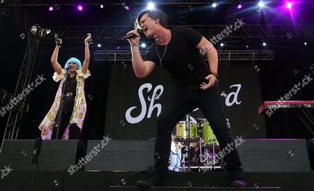 Siblings George (r) and Amy Sheppard (l) of Australian Rock Group 'Sheppard' Performs on Stage During the 2015 Incheon Pentaport Rock Festival on Songdo in Incheon South Korea 08 August 2015 the Music Festival Runs From 07 to 09 August 2015 Korea, Republic of Incheon