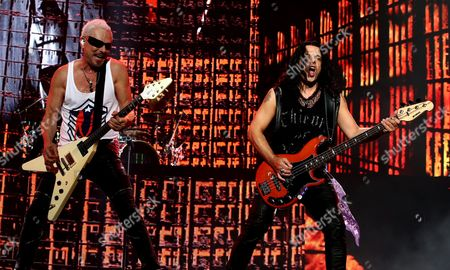 Lead Guitarist Rudolf Schenker (l) and Bassist Pawel Maciwoda (r) of German Rock Group Scorpions Perform on Stage During the 2015 Incheon Pentaport Rock Festival on Songdo in Incheon South Korea 07 August 2015 the Music Event Runs From 07 to 09 August Korea, Republic of Incheon