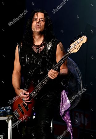 Bassist Pawel Maciwoda of German Rock Group Scorpions Performs on Stage During the 2015 Incheon Pentaport Rock Festival on Songdo in Incheon South Korea 07 August 2015 the Music Event Runs From 07 to 09 August Korea, Republic of Incheon