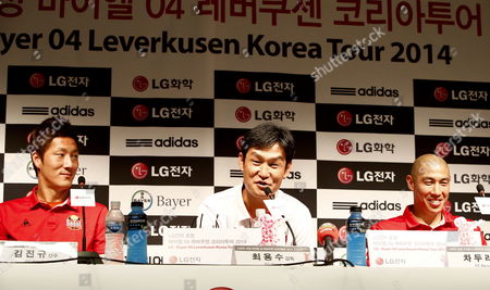 Stock Image of South Korea Soccer Club Fc Seoul Head Coach Choi Yong-soo (c) Speaks As Defenders Kim Jin-kyu (l) and Cha Du-ri (r) Listen During a Press Conference at the Sangam World Cup Stadium in Seoul South Korea 29 July 2014 South Korean Soccer Club Fc Seoul and German Soccer Club Bayer 04 Leverkusen Will Face Each Other in Seoul on 30 July Korea, Republic of Seoul