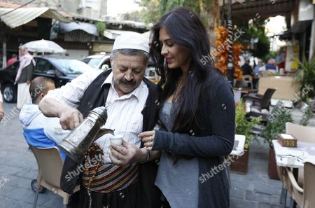 Bolivian Actress Carla Ortiz Drinks Arabia Coffee at a Caf? in the Old City of Damascus Syria on 19 May 2016 Syrian Arab Republic Damascus