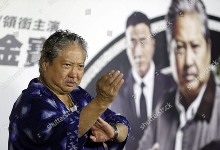 Hong Kong Actor and Film Producer Sammo Hung Gestures During a Press Conference in Taipei Taiwan 31 March 2016 Hung is in Taipei to Promote His New Movie 'The Bodyguard' Taiwan Taipei
