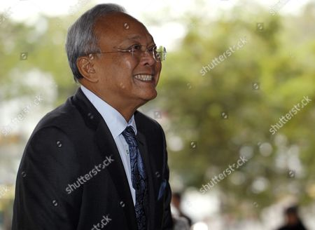 Former Thai Deputy Prime Minister Suthep Thaugsuban Arrives at the Criminal Court in Bangkok Thailand 17 February 2016 the Thai Appeals Court Upheld the Rejection of the Case Against Former Thai Prime Minister Abhisit Vejjajiva and His Then Former Deputy Prime Minister Suthep Thaugsuban in Which They Were Charged of Murder in Connection with the Deadly Military Crackdown on Red Shirt Protesters in 2010 Media Reported Thailand Bangkok