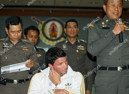 Alleged Fraud Suspect Us National Theodore Andrew Werner 48 (c) Attends a Press Conference at Central Investigation Bureau in Bangkok Thailand 20 July 2015 Thai Police Arrested a Suspected Us Man on Suspicion of Criminal Acts of Internet Fraud Worth Two Million Us Dollars (about 70 Million Thai Baht Or 1 84 Million Euro) As Wanted Under Us Law Enforcement by New York of United State on 18 July 2018 at Phuket Island Southern Thailand the Police Said Thailand Bangkok